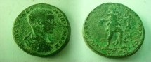 Ancient Coins - Diadumenian Æ27 of Nikopolis ad Istrum.  Diana advancing right with bow and hound at feet.
