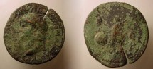 Ancient Coins - Nero, As 54-68 AD, High-Relief As, Rome,Victory with shield.