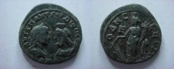 Ancient Coins - Gordian III & Serapis Æ27 Pentassarion of Odessos.  Fortuna standing left with rudder & cornucopiae, E to left.