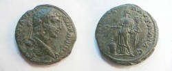 Ancient Coins - Caracalla AE30 of Pautalia, Thrace. Homonia standing left, sacrificing from patera over flaming altar
