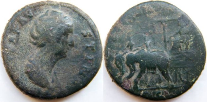 Ancient Coins -   DIVA FAUSTINA Sr., wife of  Antoninus Pius.AE Sestertius. Faustina,seated  in carpentum drawn by two elephants guided by riders.
