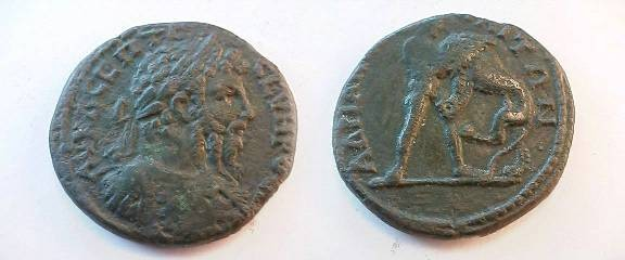 Ancient Coins - Septimius Severus AE26 of Hadrianopolis, Thrace. Hercules strangling the Namean lion.