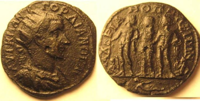 Ancient Coins - Gordian III AE31 of Hadrianopolis.Orpheus ,his wife Euridice and Hades.Extremely Rare and Interesting.