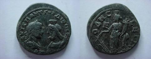 Ancient Coins - Gordian III & Serapis Æ27 Pentassarion of Odessos.  Fortuna standing left with rudder & cornucopiae, E to left.