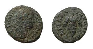 Ancient Coins - Caracalla AE19 of Hadrianopolis.  ADRIANOPLEITWN, bunch of grapes on stem.