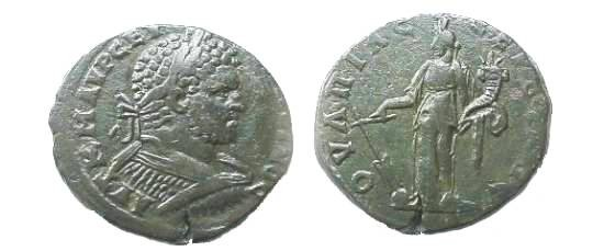 Ancient Coins - Caracalla AE29 of Serdica, Thrace.  Tyche standing left with rudder & cornucopiae.