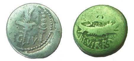 Ancient Coins -  Mark Antony Legionary Denarius.  32-31 BC. LEG IV.