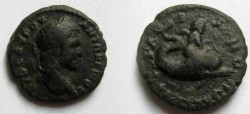 Ancient Coins - Caracalla AE18 of Serdica, Thrace. Eros on dolphin right.