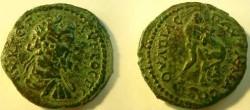 Ancient Coins - Pautalia AE24.Hercules wrestling the Namean Lion