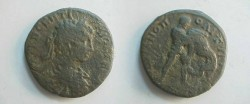 Ancient Coins - Geta Æ 27 of Hadrianopolis. Hercules right strangling the Namean lion.