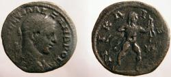 Ancient Coins - Severus Alexander AE25 of Nicaea. Hercules, nude, standing , The Stymphalian Birds