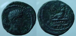 Ancient Coins - Lucius Verus AE15  of Odessos, Thrace. Great God of Odessus reclining l.EF with beautiful green patina and very  rare.R7