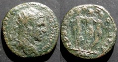 Ancient Coins - Caracalla Æ21 of Trajanopolis, Thrace. Radiate head right / Statuary group of the Three Graces.