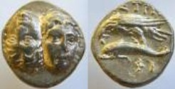 "Ancient Coins - Istros, Thrace, AR Stater . Two facing male heads,The Twins Castor and Pollux.""The Twins,"" Gemini,"