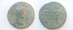 Ancient Coins - Commodus AE25 of Odessos, Thrace. Demeter, holding corn ears & long torch, facing Persephone holding patera & long torch.