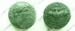 "Ancient Coins - Divis Augustus AE22 of Amphipolis.  <font face=""SYMBOL"">AMFIPOLITWN</font>, Artemis Tauropolis riding bull right, veil flowing above."