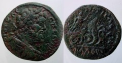 Ancient Coins - Septimus Severus AE27 of ?. Triptolemos flying right in biga of serpents.