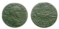 Ancient Coins - Caracalla AE24 of Perinthos, Thrace.  Galley with four oarsmen traveling right,