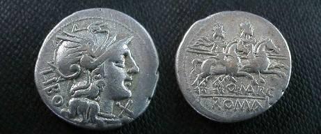 Ancient Coins - Denarius of the republic,  148 BC.  Dioscuri galloping right, Q MARC below horses.