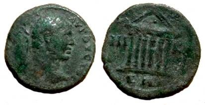 Ancient Coins - Caracalla AE23 of Bithynia, Nicaea. Hexstyle temple.