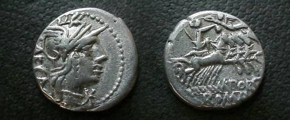 Ancient Coins - M Porcius Laeca,  125 BC.  Libertas in quadriga, crowned by Victory, M POR ROMA below.