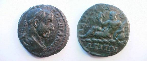 Ancient Coins - Gordian III Æ26 of Hadrianopolis, Thrace.  River god, holding reed, reclining left on jug from which river waters flow.