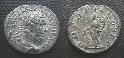Ancient Coins - Macrinus Denarius.  P M TR P II COS P P, Annona standing left, holding grain-ears & cornucopiae; altar at left.
