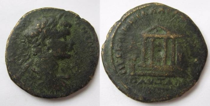 Ancient Coins - Caracalla.AE 28.Pautalia.Temple seen in prospective, on tree steps .Threes, statues . . RRRR !!!