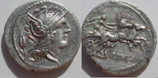 Ancient Coins - L Julius Denarius,  100-97 BC.  L IVLI below Victory driving galloping biga right.
