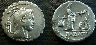 Ancient Coins - L Roscius Fabatus Denarius Serratus,  59 BC.  girl standing right feeding serpent before, symbol to left, FABATI in ex.
