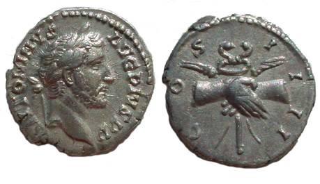 Ancient Coins - Antoninus Pius Denarius.  COS IIII, Clasped hands holding grain ears & caduceus.