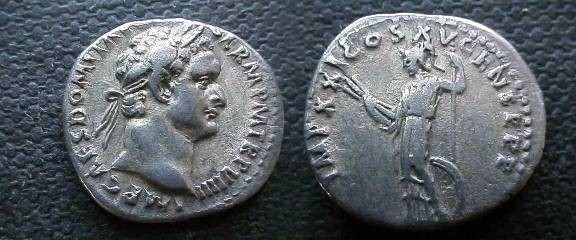 Ancient Coins - Domitian Denarius.  IMP XXI COS XV CENS P P P, Minerva standing left with thunderbolt & spear, sheild on ground.