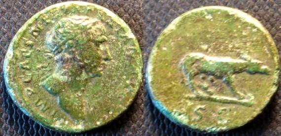Ancient Coins - Trajan. 98-117 AD. Æ Quadrans . S C in exergue, she-wolf standing right.