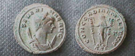 Ancient Coins - Severina Billon Antoninianus.Rome mine. CONCORDIAE MILITVM