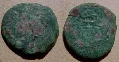 Ancient Coins - Roman Republic, Varro AE As. 169-157 BC. Janus / Prow & VARO monogram.