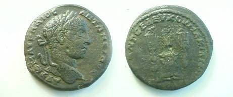 Ancient Coins - Elagabalus AE26 of Markianopolis.  Eagle standing on altar between two standards.