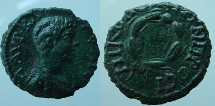 Ancient Coins - Caracalla AE16 of Nikopolis, Moesia Inferior.laurel wreath.Probably a game coin.RRR. Unlisted.