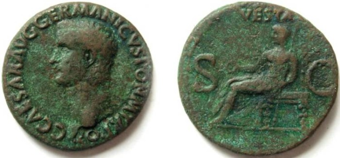 Ancient Coins - Gaius Caligula Æ As. Struck 37-8 AD. Vesta seated left,holding patera and sceptre.