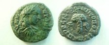 Ancient Coins - Elagabalus AE17 of Nikopolis, Moesia Inferior.  Bunch of grapes, N to left, O to right.