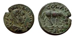 Ancient Coins - Valerian I Æ 20mm of Alexandria Troas. Horse grazing right.