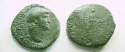 Ancient Coins - Nero Æ Semis.  [VICTORIA AVG]VSTI (retrograde) Victoria advancing left, holding wreath and palm.