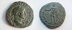 Ancient Coins - Gordian III Æ 25mm of Hadrianopolis. Herakles, naked, standing facing with club & the apples of the Hesperides.