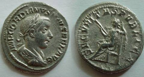Ancient Coins - Gordian III Denarius.Securitas seated left holding scepter and propping head on left hand