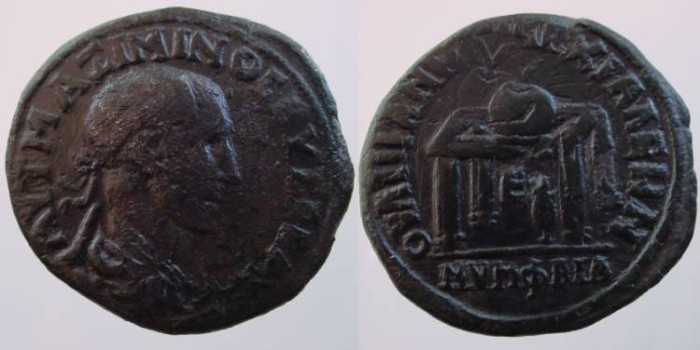 Ancient Coins - Maximinus Thrax AE30mm of Anchialus/ Table with prize urn, NYMFEIA below.