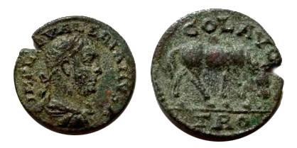 Ancient Coins - Valerian I Æ 20mm of Alexandria Troas. Horse grazing right.