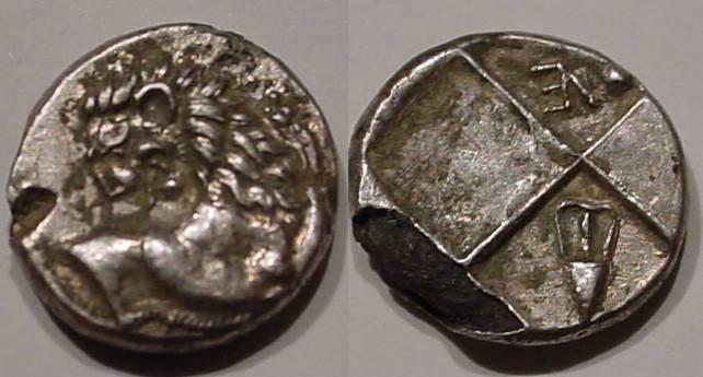Ancient Coins - Thracian Chersonese, Cherronesos Fouree, an ancient counterfeit, AR Hemidrachm. 400-350 BC.