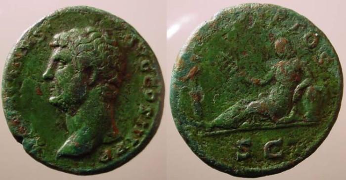 Ancient Coins - Hadrian AE Dupondius.AEGYPTOS, Egypt reclining left.Rare left facing bust.