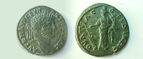 Ancient Coins - Caracalla AE30 of Serdica, Thrace.  Tyche standing left with rudder & cornucopiae.