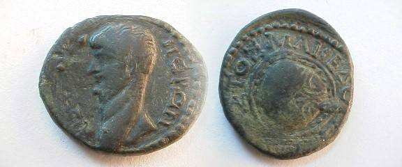 Ancient Coins - Nero Æ24 of Macedonia, Koinon.  Macedonian shield.