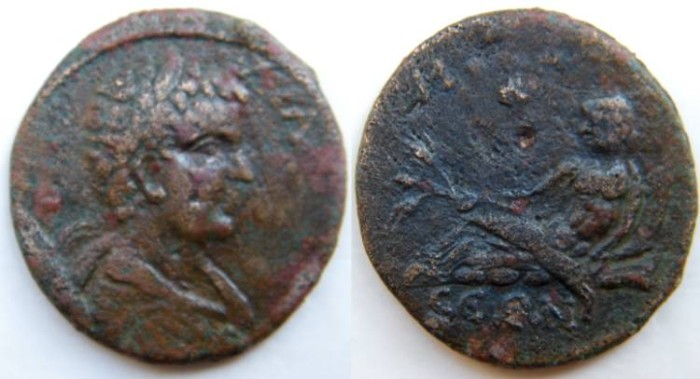 Ancient Coins - CARIA. Mylasa. Caracalla AE32 . River-god (Kyberses) reclining to l.,.RRR.